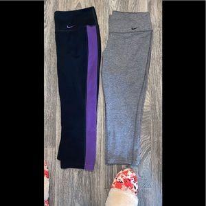 2 pairs of Nike cropped leggings